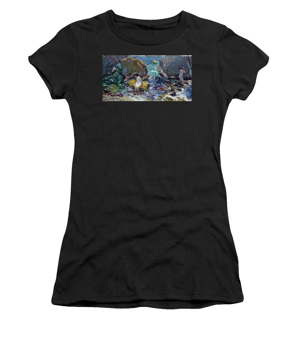Joaquin Sorolla Y Bastida Women's T-Shirt (Athletic Fit) featuring the painting Children On The Shore. Javea by Joaquin Sorolla y Bastida