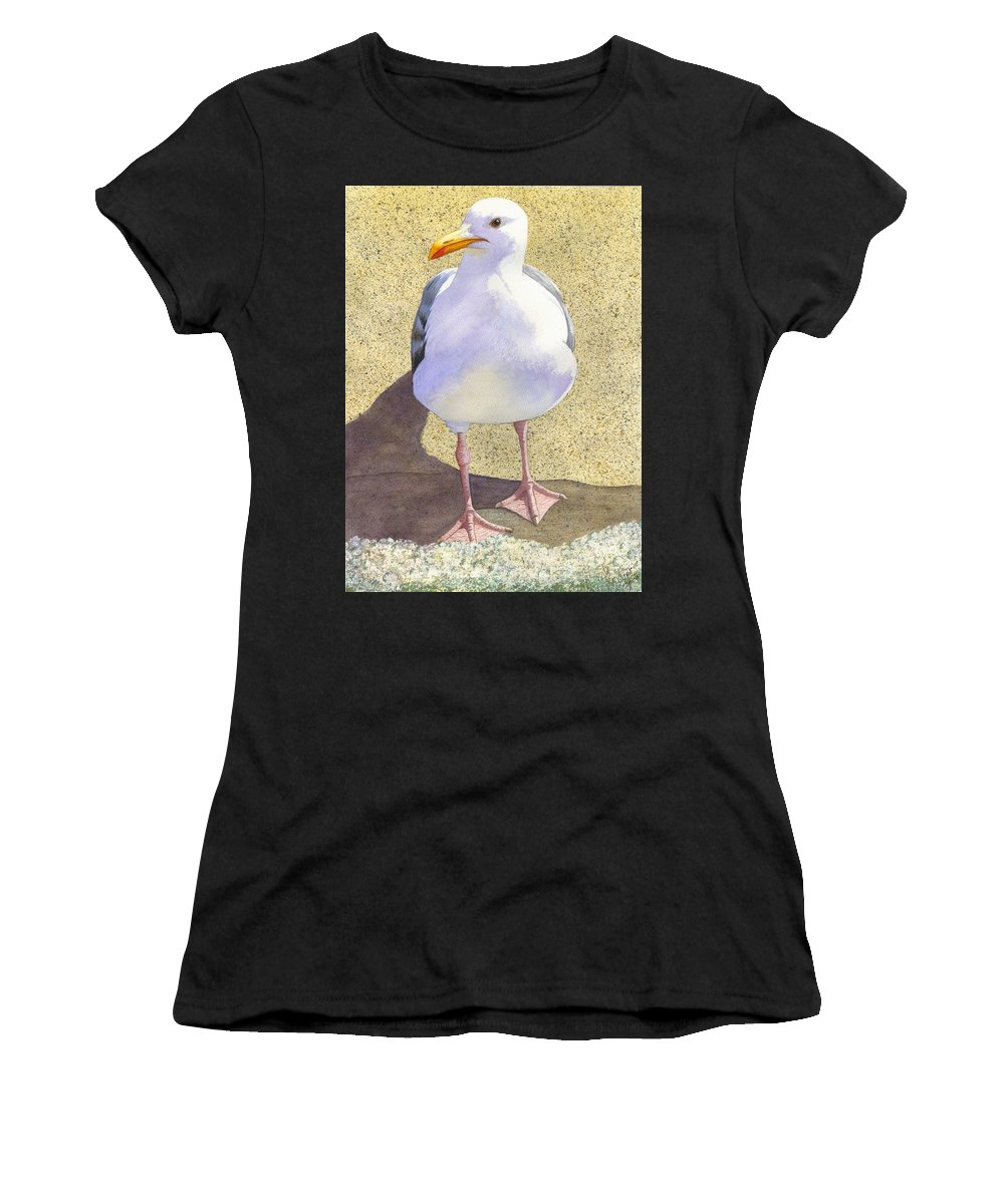 Seagull Women's T-Shirt (Athletic Fit) featuring the painting Chilly by Catherine G McElroy