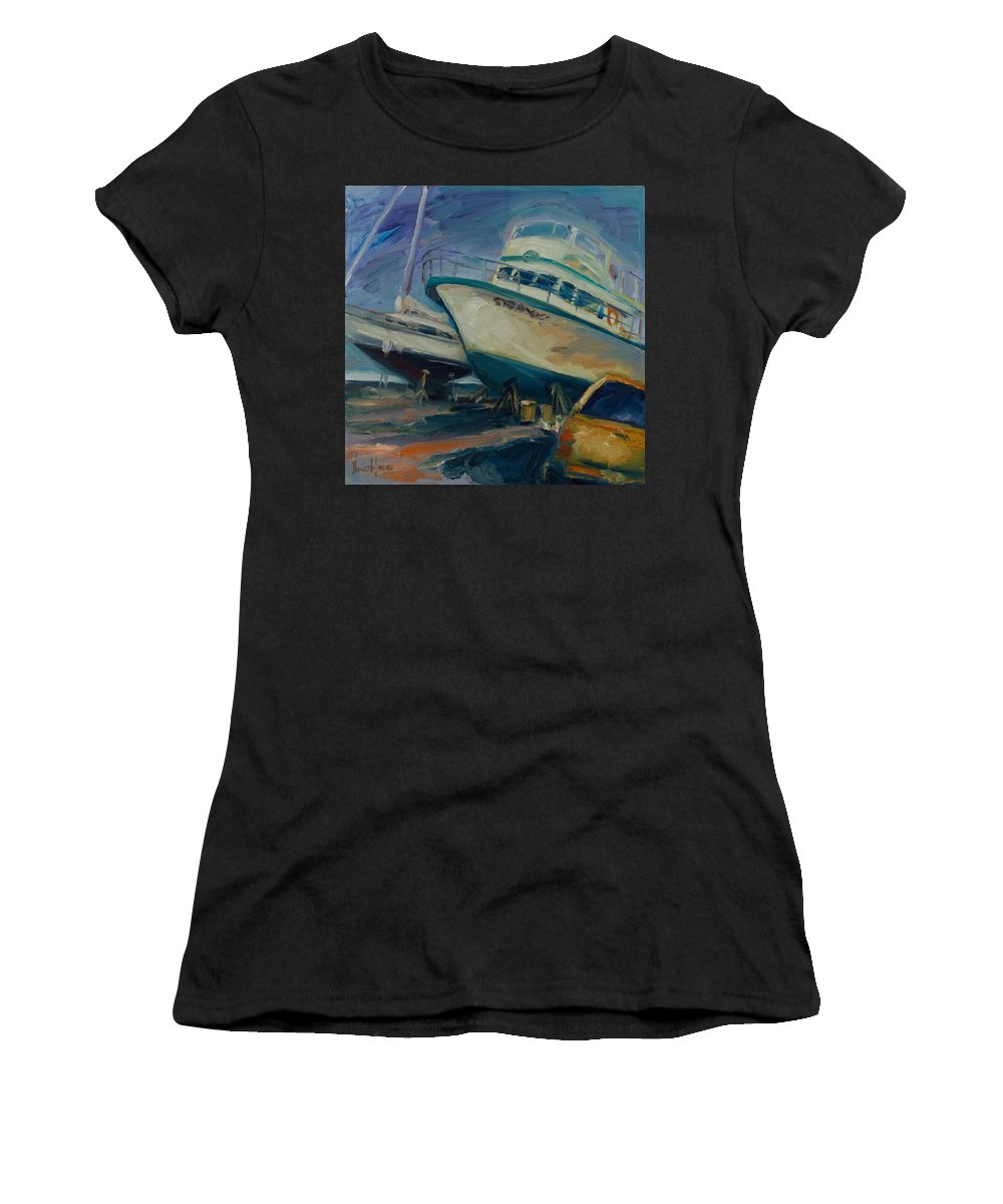 Boats Women's T-Shirt featuring the painting China Basin by Rick Nederlof