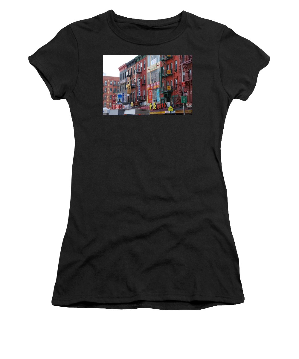 Architecture Women's T-Shirt (Athletic Fit) featuring the photograph China Town Buildings by Rob Hans