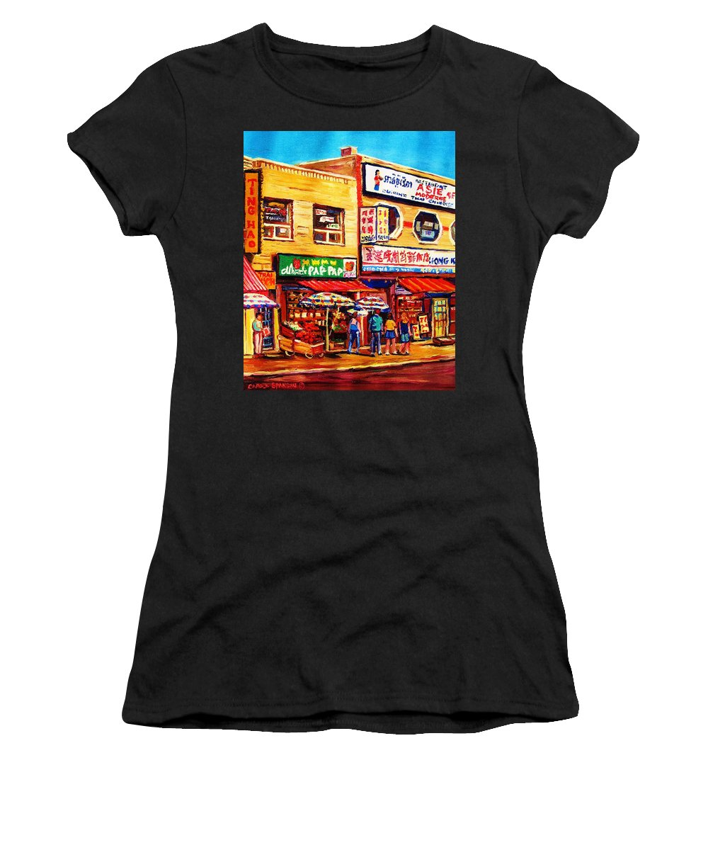 Montreal Women's T-Shirt (Athletic Fit) featuring the painting Chinatown Markets by Carole Spandau