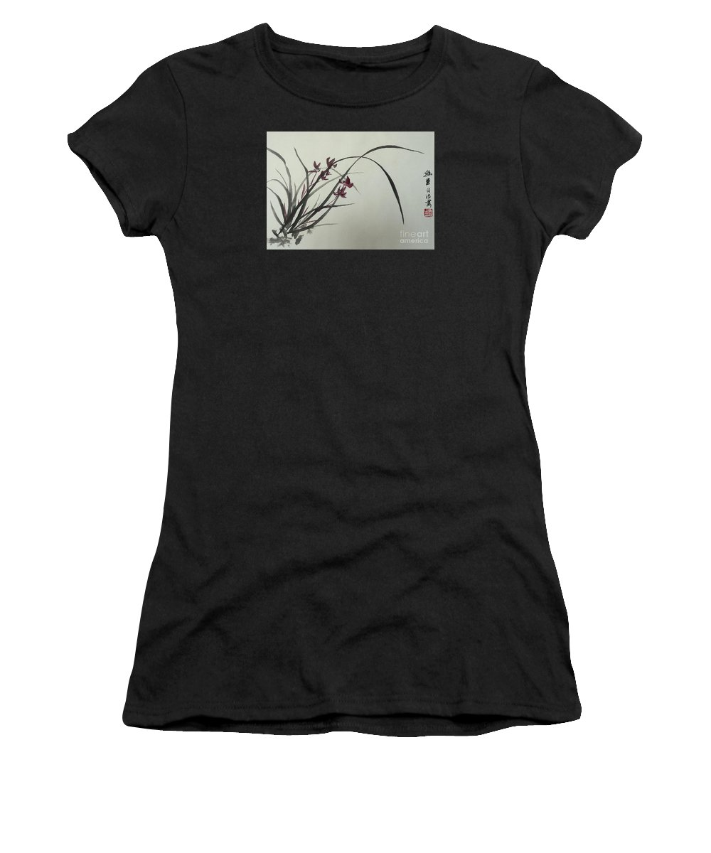 Chinese Women's T-Shirt (Athletic Fit) featuring the painting Chinese Orchid by Birgit Moldenhauer