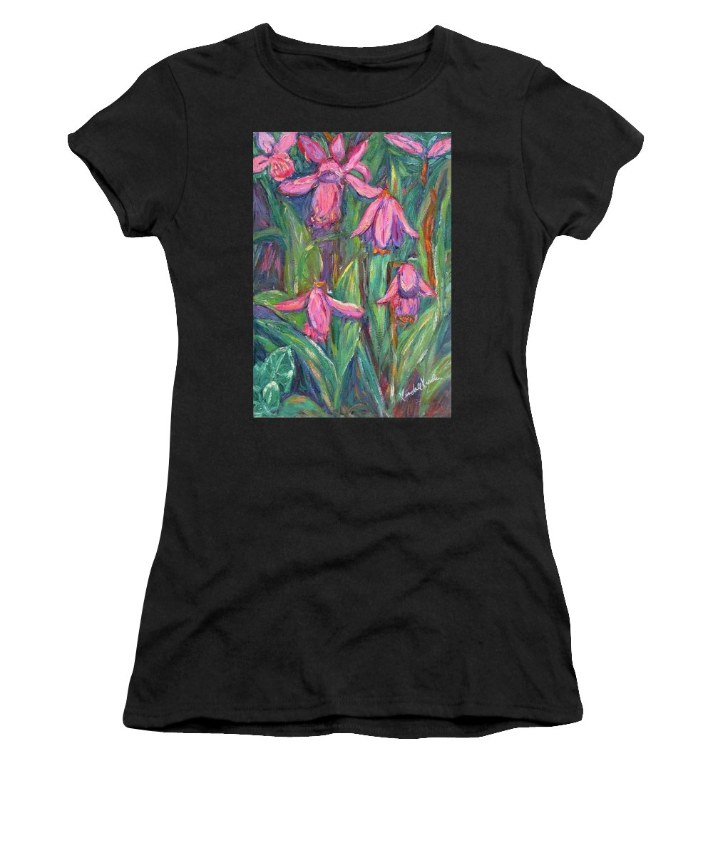 Floral Women's T-Shirt (Athletic Fit) featuring the painting Chinese Orchids by Kendall Kessler