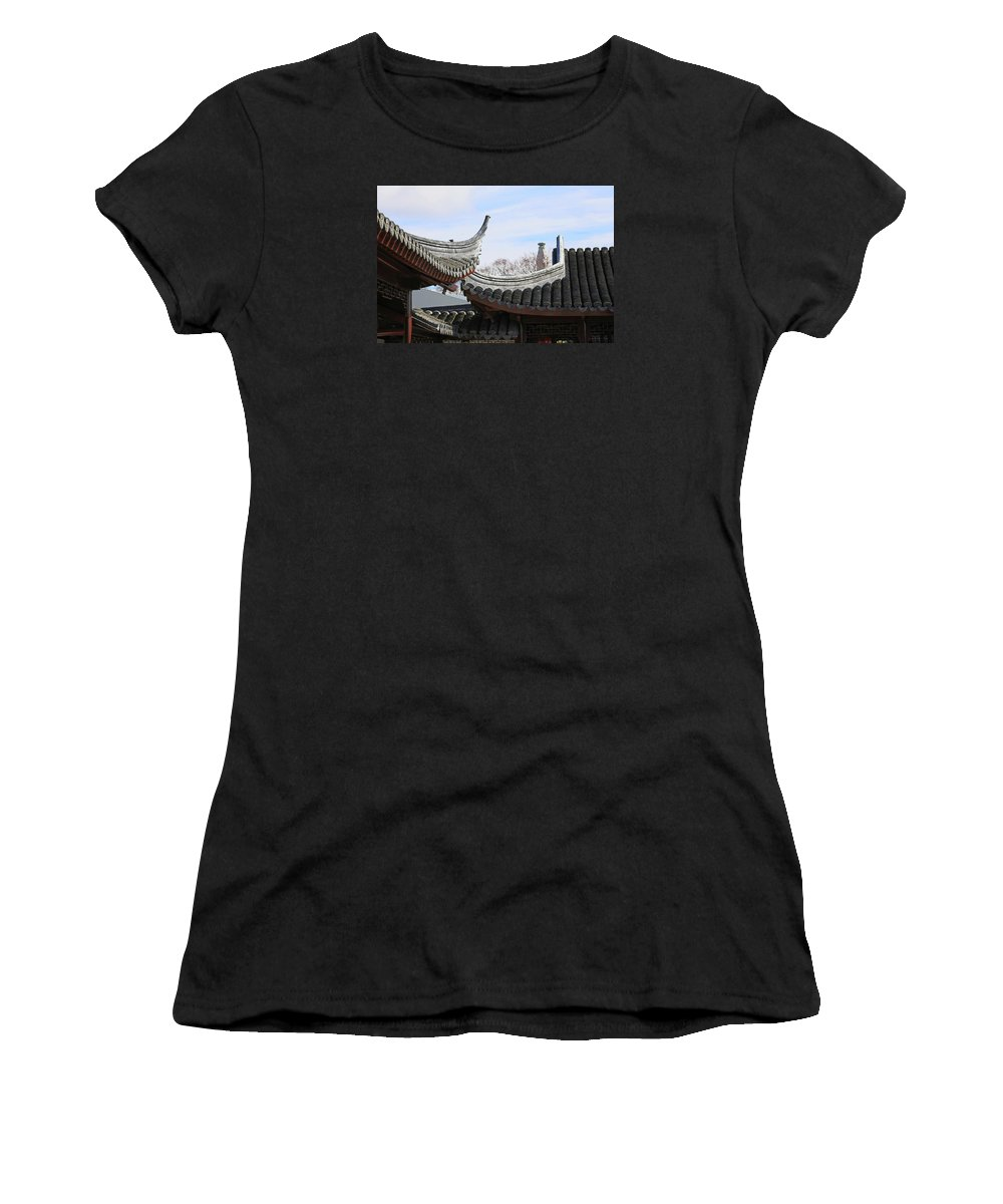 Roofs Women's T-Shirt featuring the photograph Chinese Rooflines by Nareeta Martin