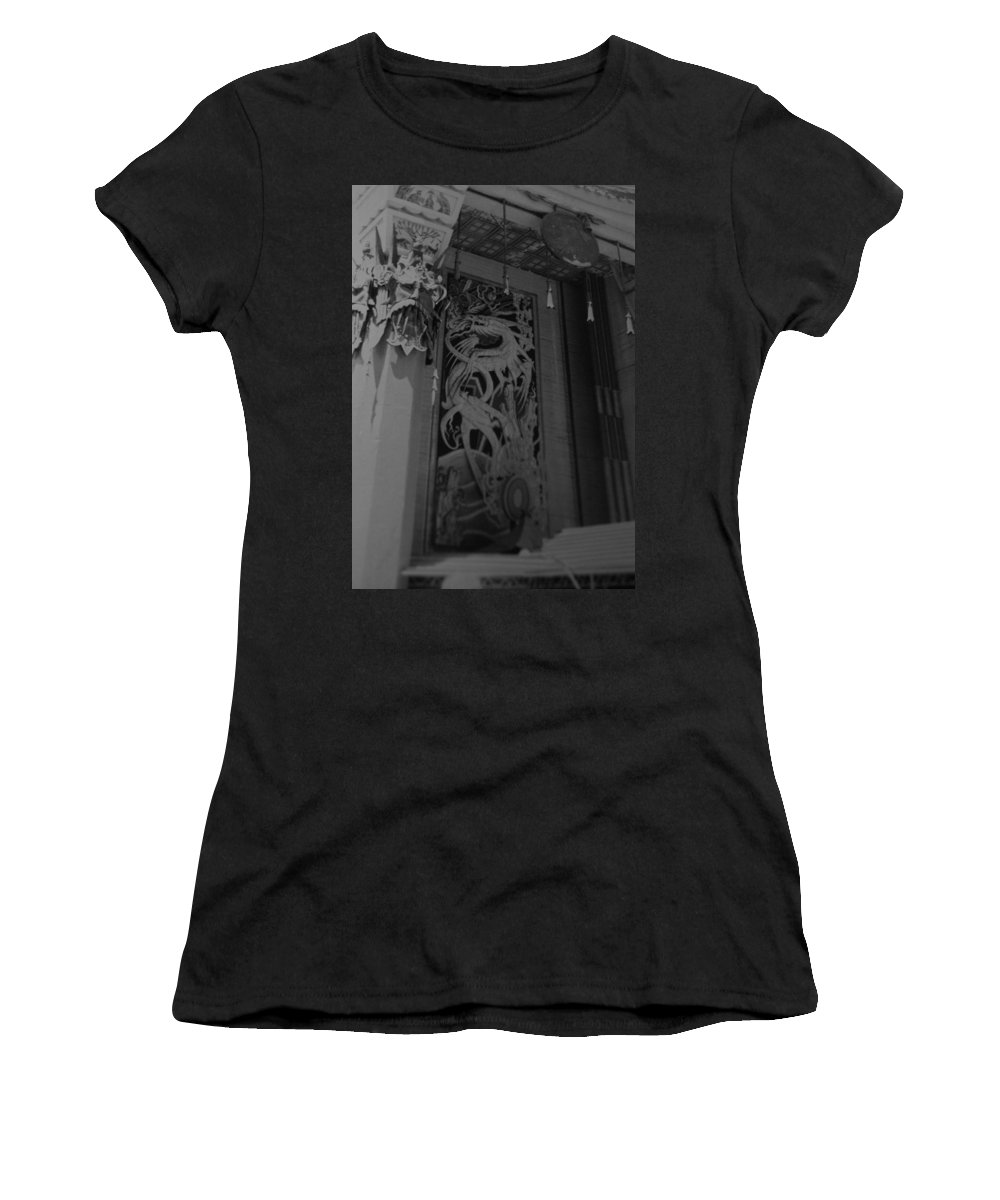 Black And White Women's T-Shirt featuring the photograph Chinese Theater by Rob Hans