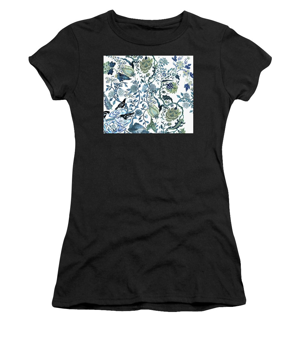 Chinoiserie Blue Women's T-Shirt (Athletic Fit) featuring the photograph Chinoiserie Blue by Chrissy Ink
