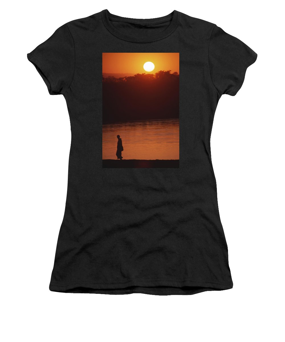 Sunset Women's T-Shirt (Athletic Fit) featuring the photograph Chitwan Sunset by Patrick Klauss