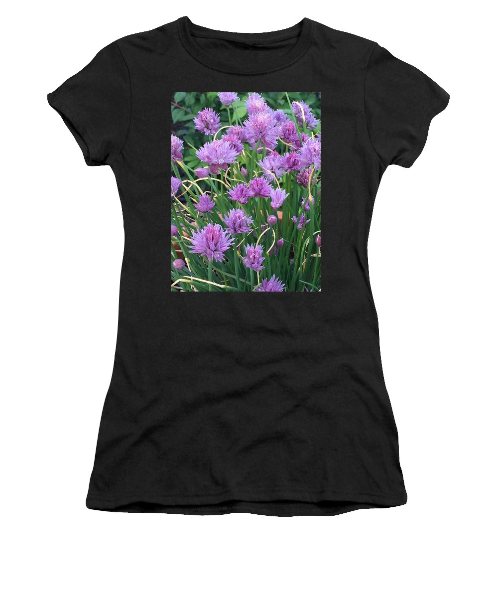 Flowers Women's T-Shirt (Athletic Fit) featuring the photograph Chive Flowers by Stephen Viszlai