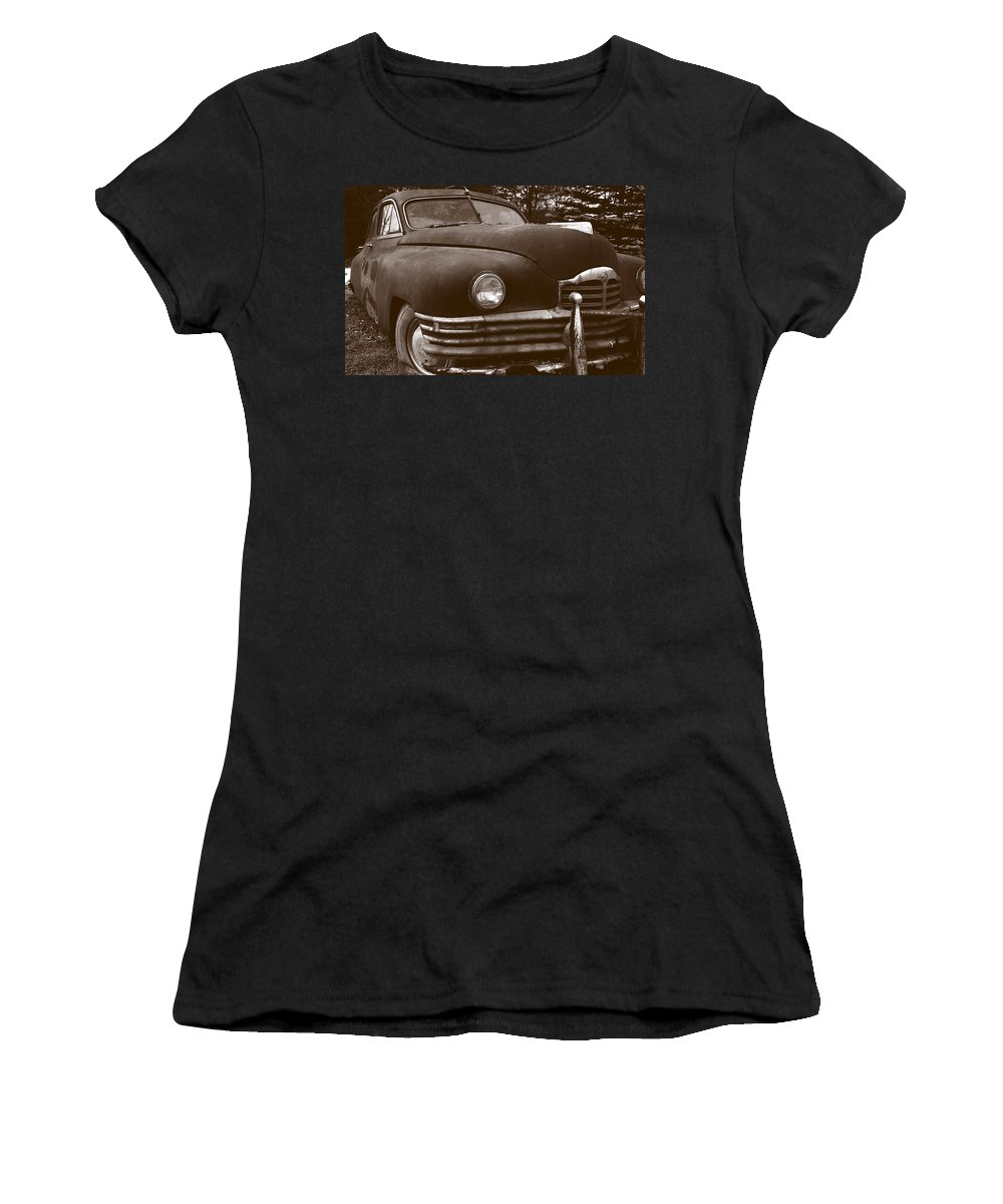 Old Car Women's T-Shirt (Athletic Fit) featuring the photograph Chocolate Moose by Jean Macaluso