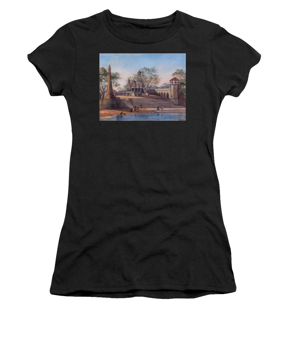 Julius Middleton Boyd () Temples And Bathing Reservoir At 'chonk' Women's T-Shirt featuring the painting Chonk by MotionAge Designs