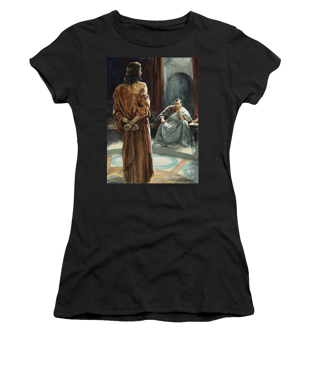 Christ; Pilate; Trial; Roman; Toga; Governor; Bible; Jesus; Rome Women's T-Shirt (Athletic Fit) featuring the painting Christ In Front Of Pontius Pilate by Henry Coller