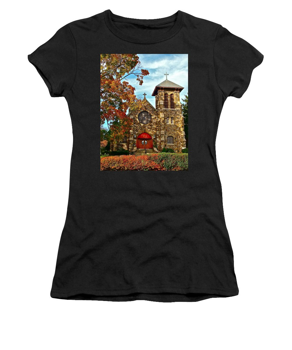 Church Women's T-Shirt (Athletic Fit) featuring the photograph Christ My Solid Rock by Diana Hatcher