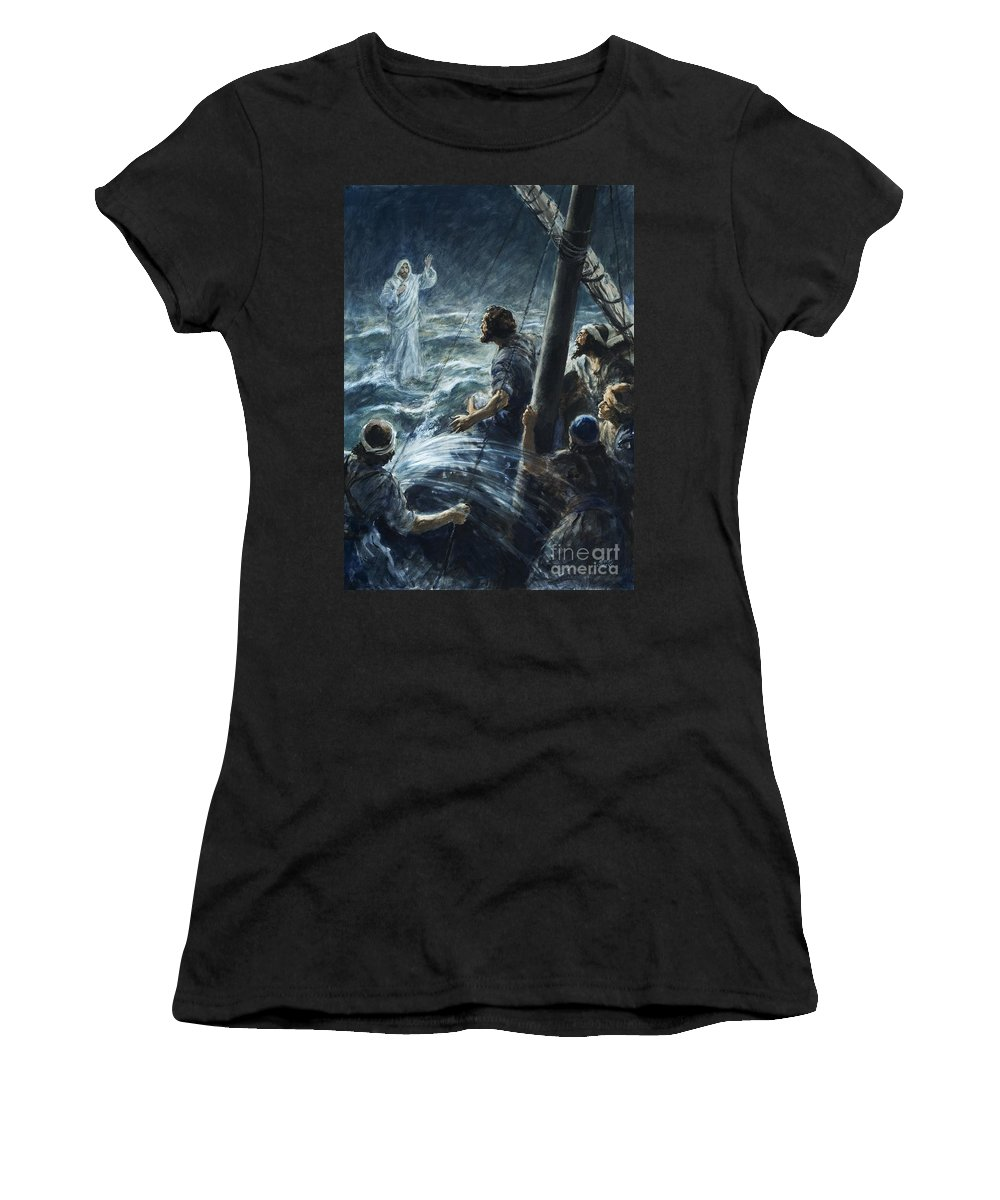 Christ; Jesus; Sea Of Galilee; Walking On Water; The Bible; Sailors; Thee Of Little Faith; Lightning; Storm; Water Women's T-Shirt (Athletic Fit) featuring the painting Christ Walking On The Sea Of Galilee by Henry Coller