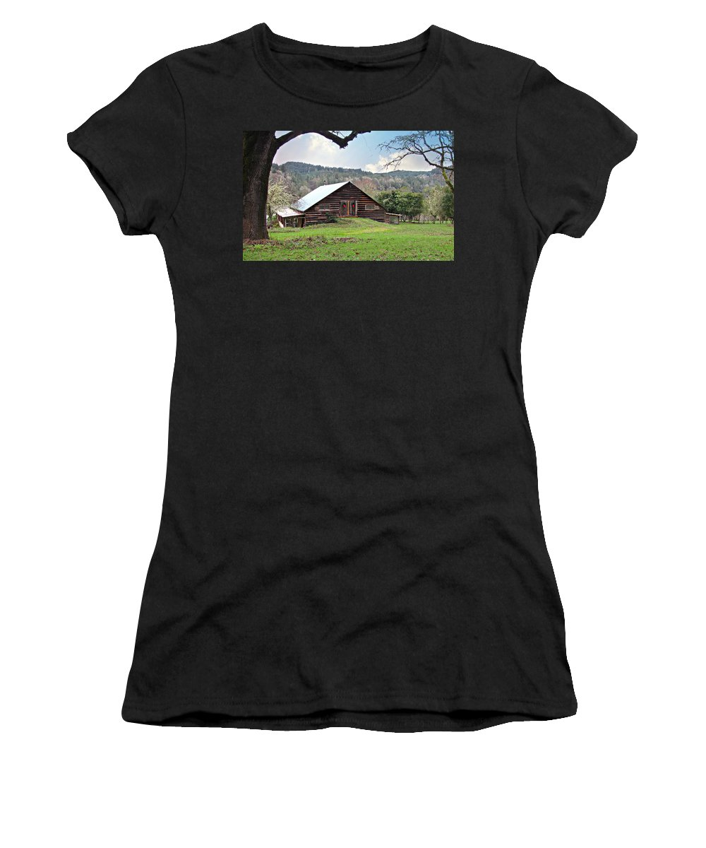 Barn Women's T-Shirt (Athletic Fit) featuring the photograph Christmas Barn by Katie Wing Vigil