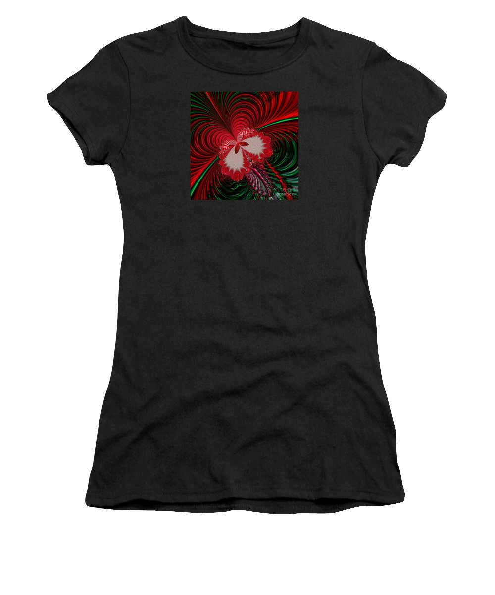 Christmas Butterfly Fractal Women's T-Shirt (Athletic Fit) featuring the digital art Christmas Butterfly Fractal 63 by Rose Santuci-Sofranko
