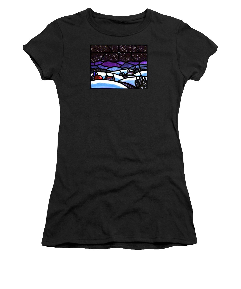 Snow Women's T-Shirt (Athletic Fit) featuring the painting Christmas In The Shenandoah Valey by Jim Harris