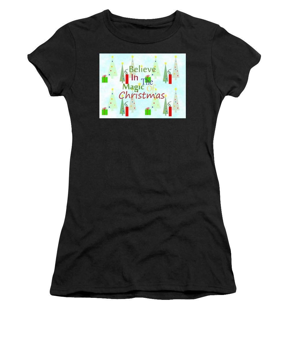 Christmas Art Women's T-Shirt (Athletic Fit) featuring the mixed media Christmas Magic by Kathleen Sartoris