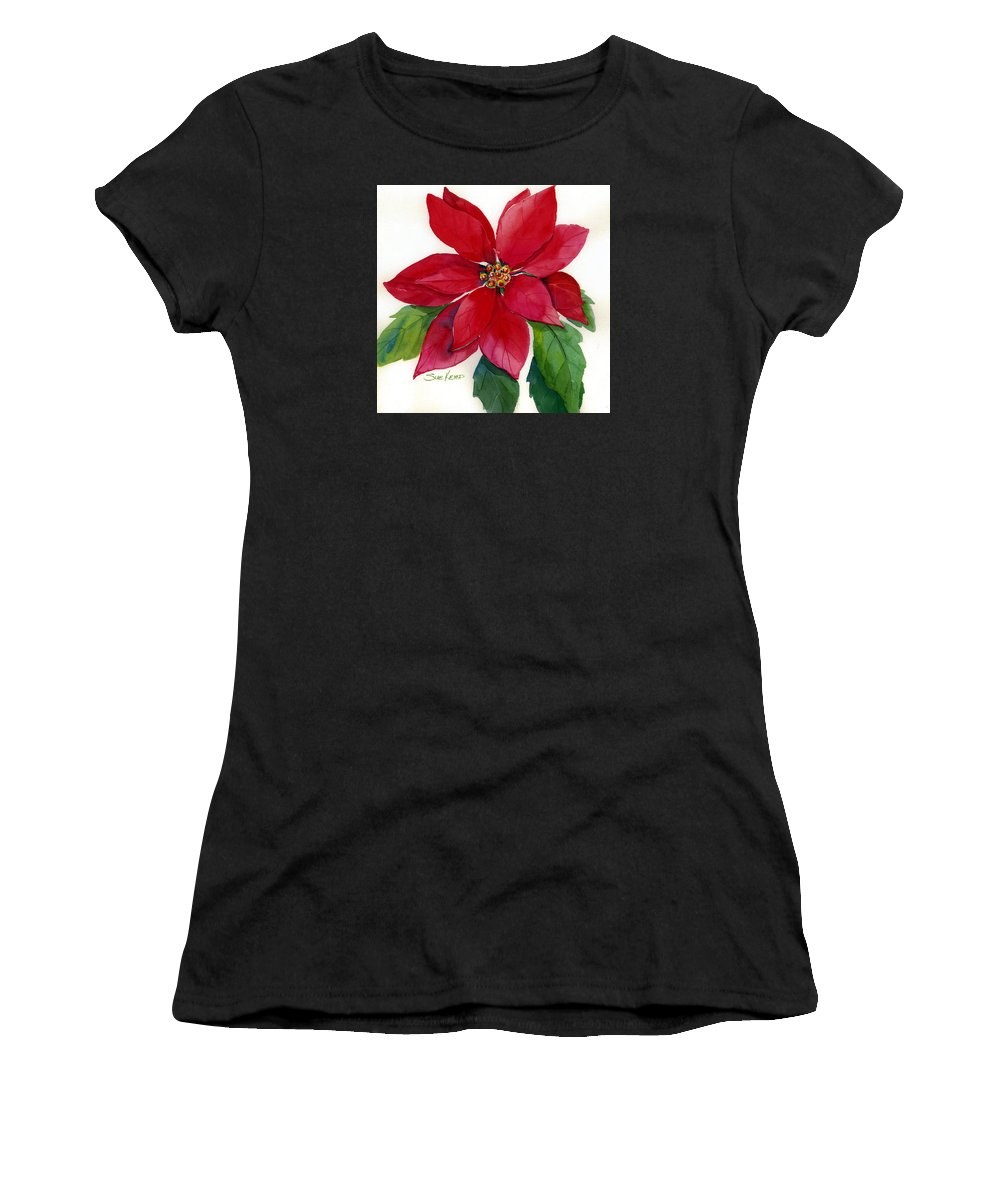 Flower Painting Women's T-Shirt featuring the painting Christmas Poinsettia by Sue Kemp