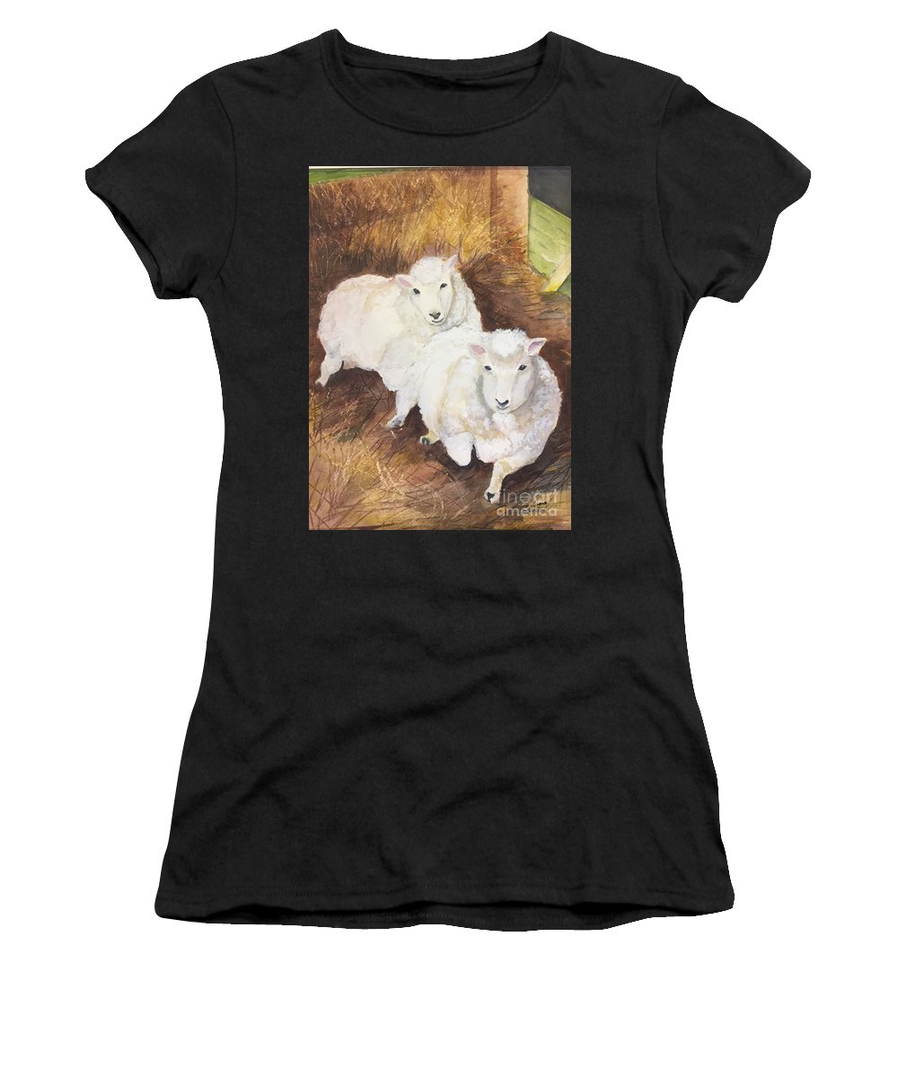 Animal Women's T-Shirt (Athletic Fit) featuring the painting Christmas Sheep by Lucia Grilletto