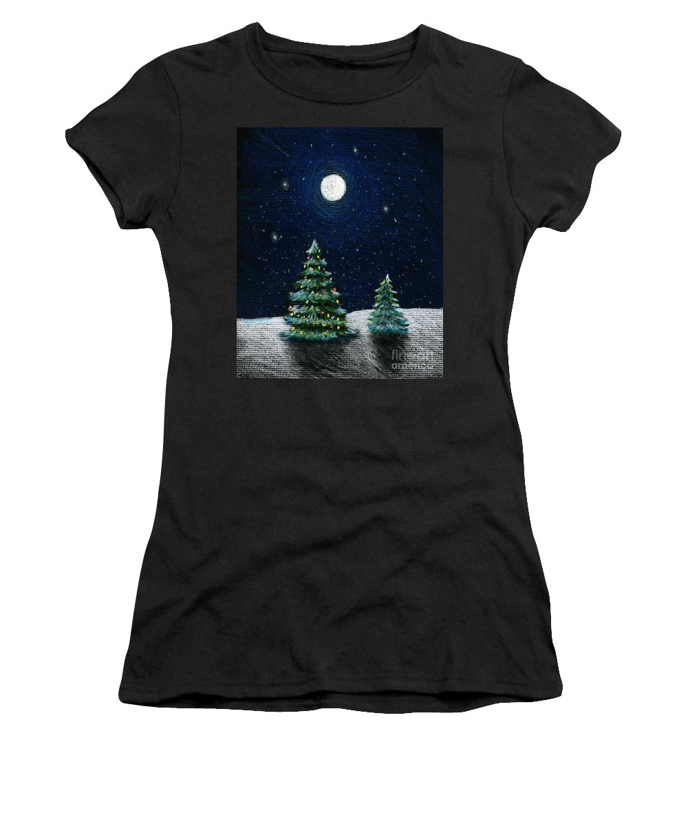 Christmas Trees Women's T-Shirt (Athletic Fit) featuring the drawing Christmas Trees In The Moonlight by Nancy Mueller