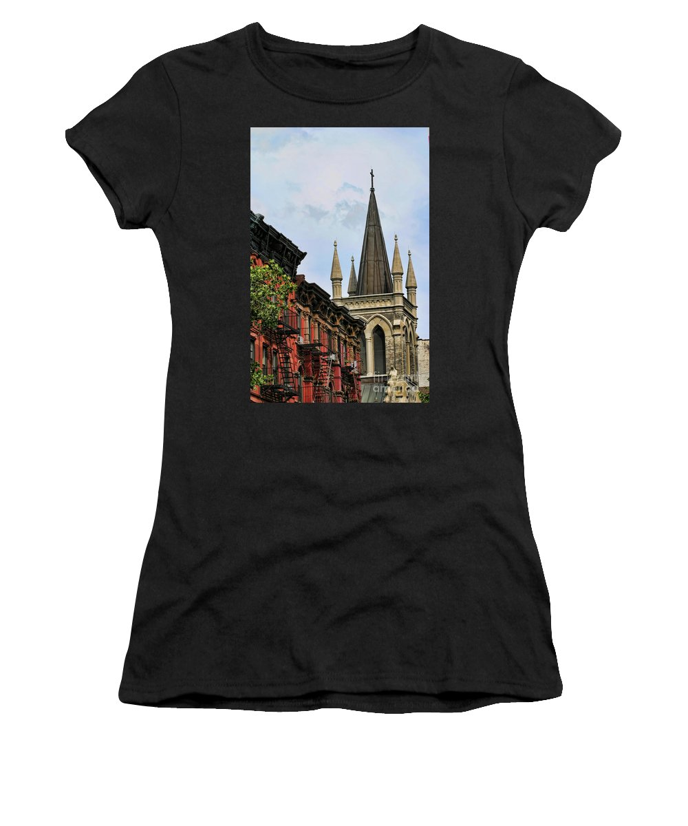 New York Women's T-Shirt (Athletic Fit) featuring the photograph Church Architecture Older Nyc by Chuck Kuhn