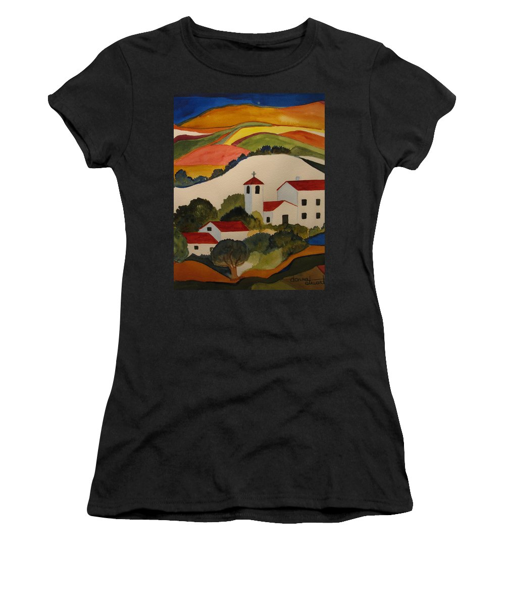 Women's T-Shirt featuring the painting Church by Donna Steward