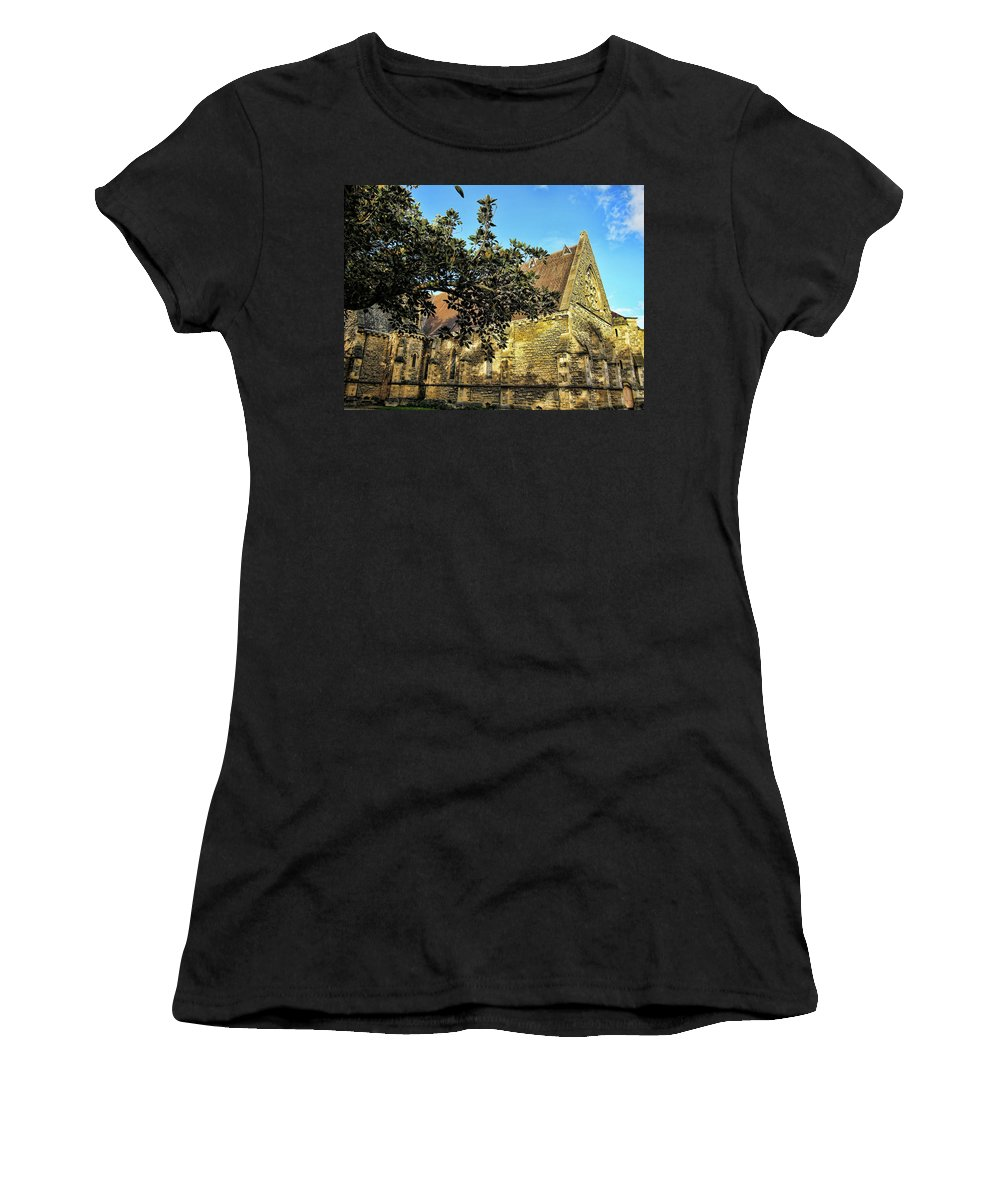 Fig Tree Women's T-Shirt (Athletic Fit) featuring the photograph Church Down The Street by Douglas Barnard
