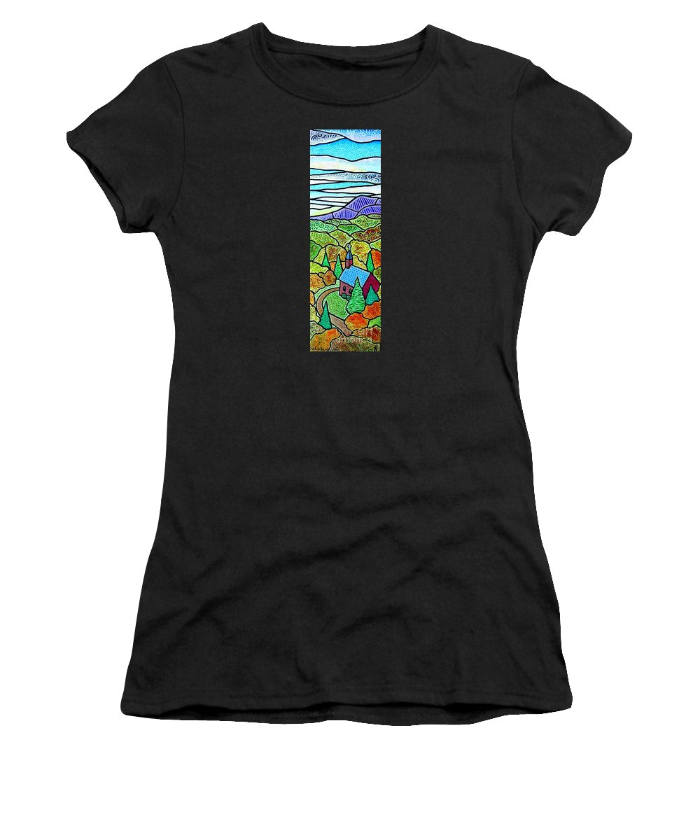 Church Women's T-Shirt (Athletic Fit) featuring the painting Church In The Wildwood by Jim Harris