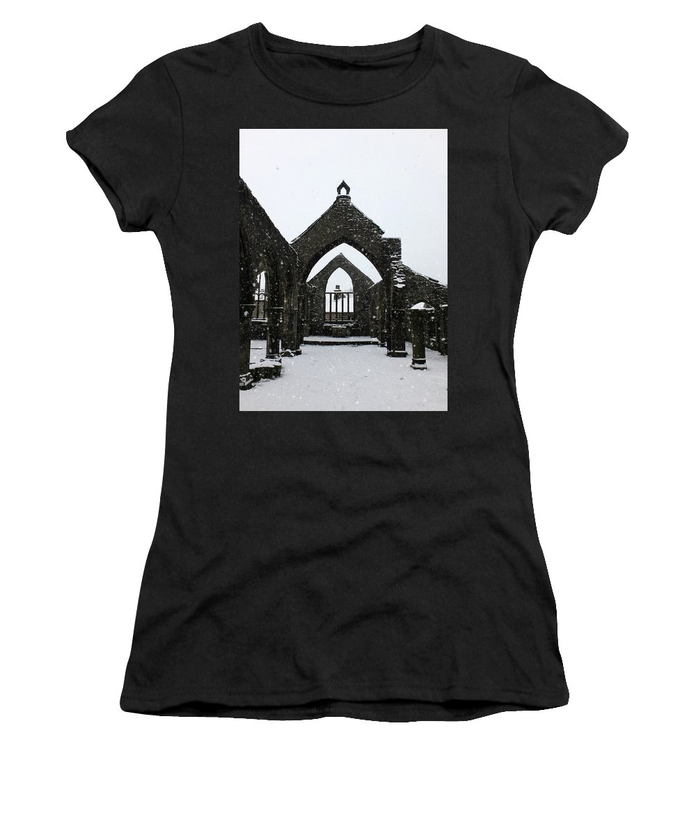 Heptonstall Women's T-Shirt (Athletic Fit) featuring the photograph Church Of St Thomas A Becket In Heptonstall In Falling Snow by Philip Openshaw
