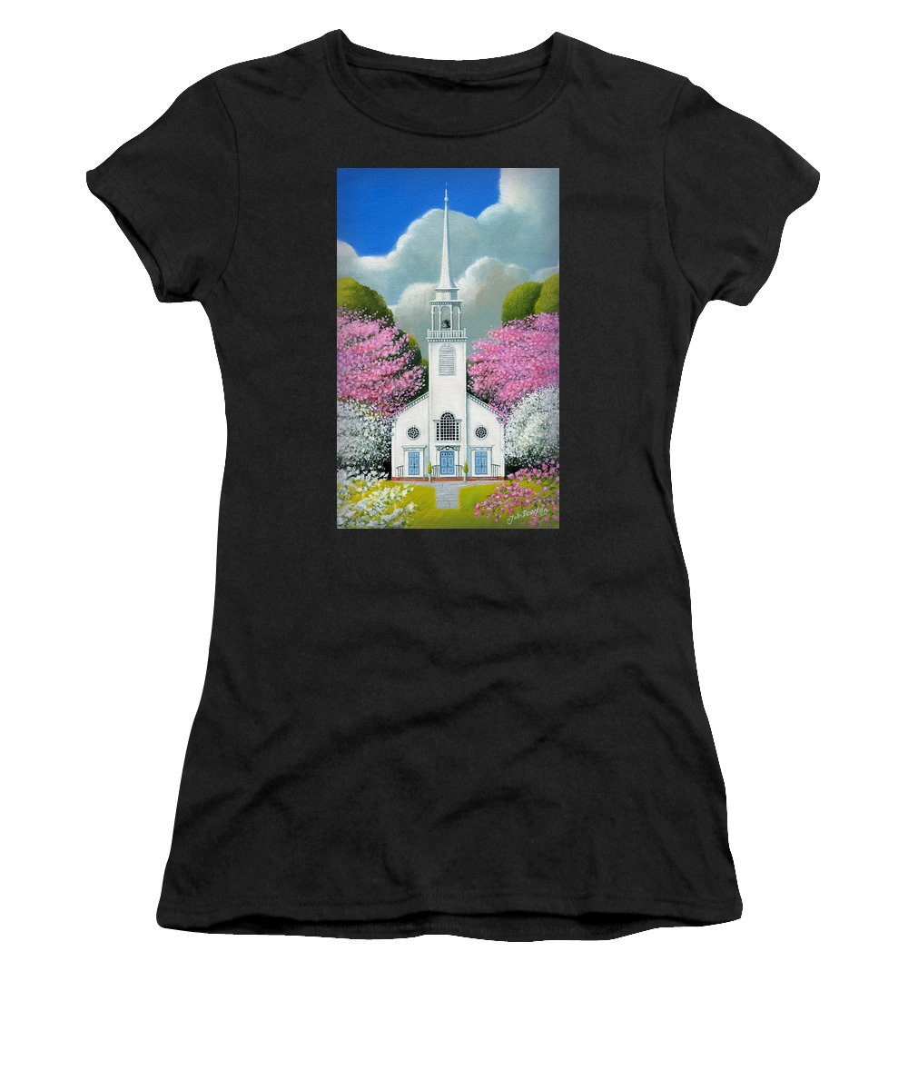 Deecken Women's T-Shirt (Athletic Fit) featuring the painting Church Of The Dogwoods by John Deecken