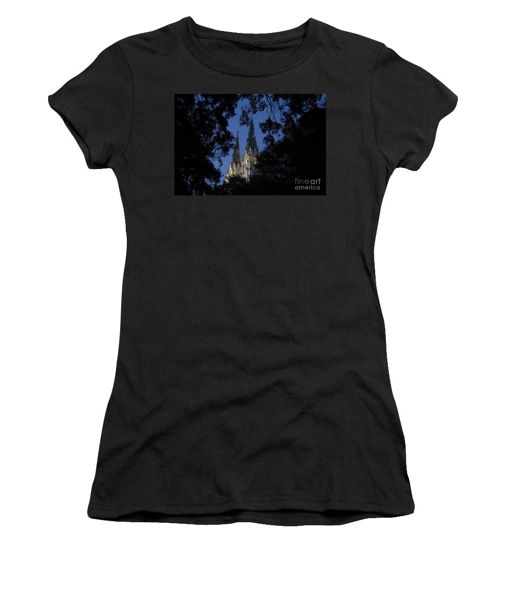 Church Steeple Women's T-Shirt (Athletic Fit) featuring the photograph Church Steeples by David Lee Thompson