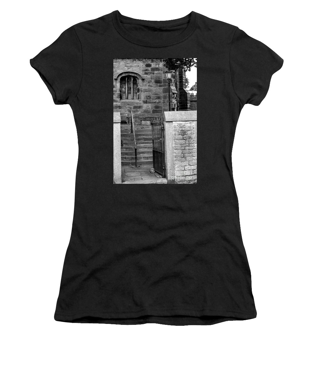 England - Church - Country - Lamp Women's T-Shirt (Athletic Fit) featuring the photograph Church Steps by Chris Horsnell