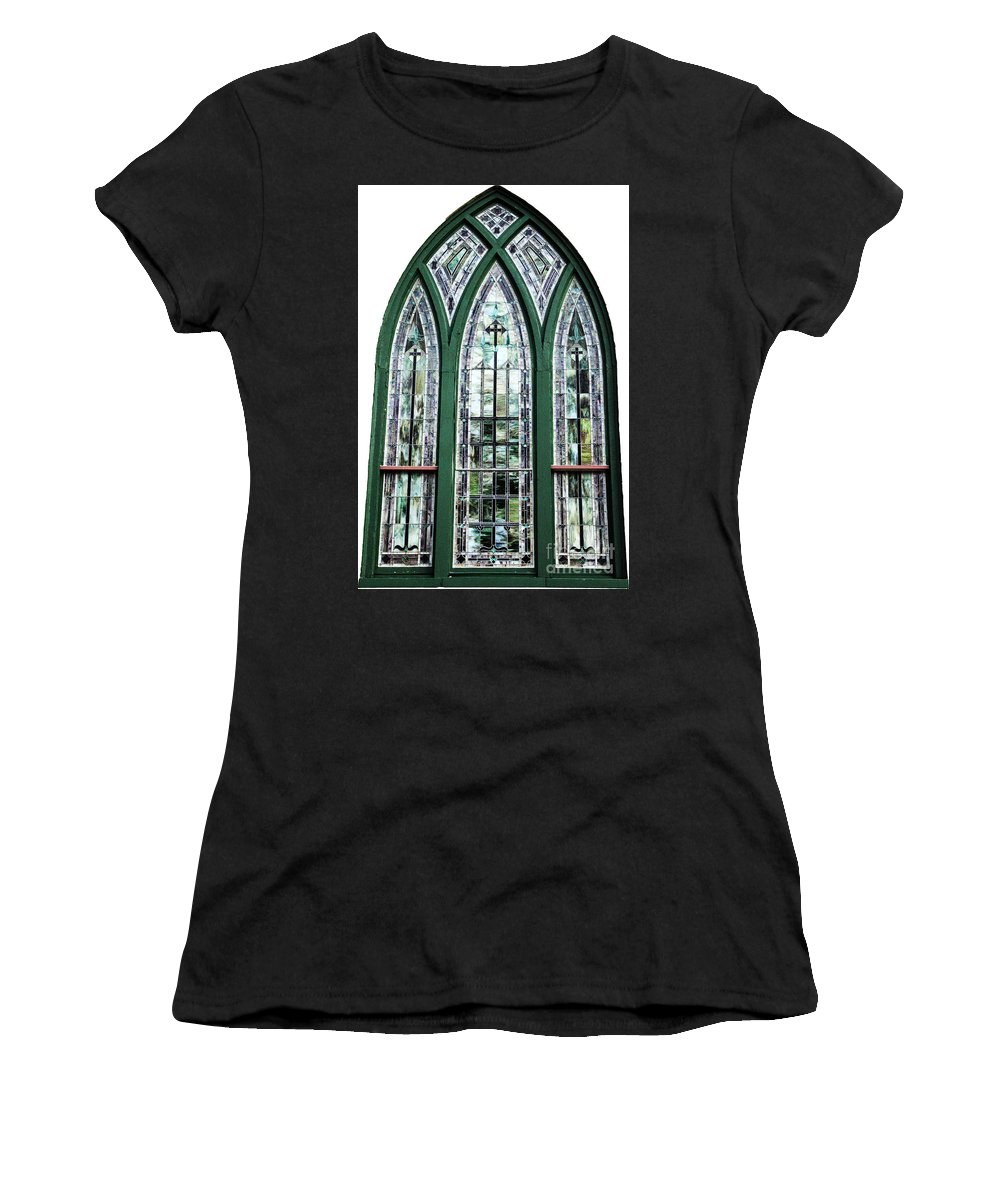 Window Women's T-Shirt (Athletic Fit) featuring the photograph Church Window by Amanda Barcon
