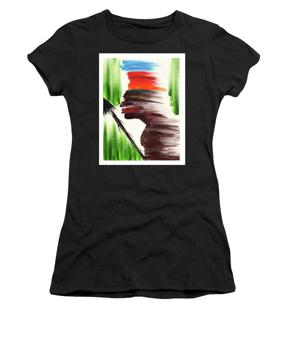 African Women's T-Shirt (Athletic Fit) featuring the painting Cimarron by Juanita Cruz