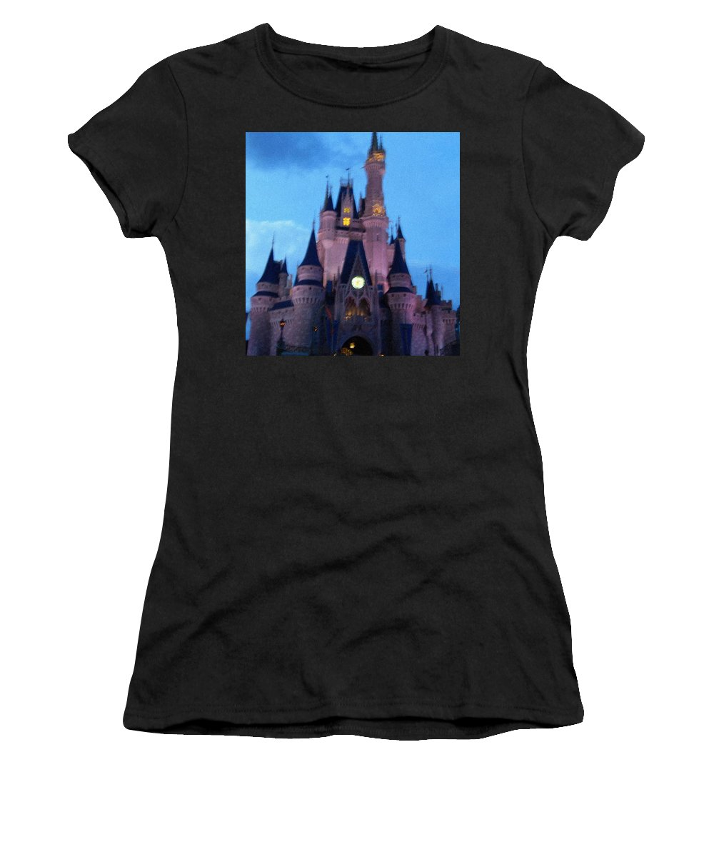 Disney Women's T-Shirt (Athletic Fit) featuring the painting Cinderella Castle by April Patterson