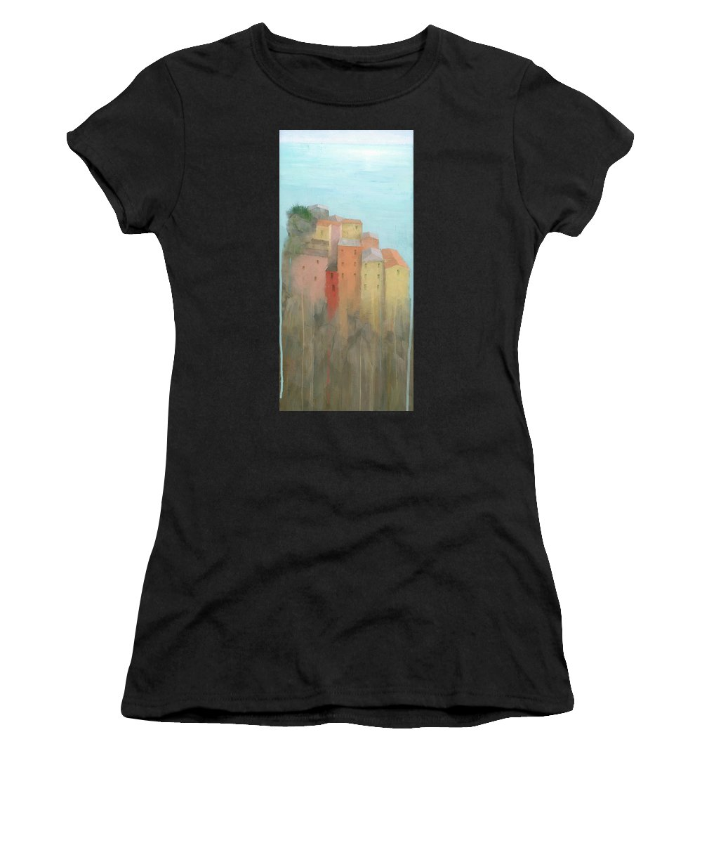 Art Women's T-Shirt (Athletic Fit) featuring the painting Cinque Terre by Steve Mitchell
