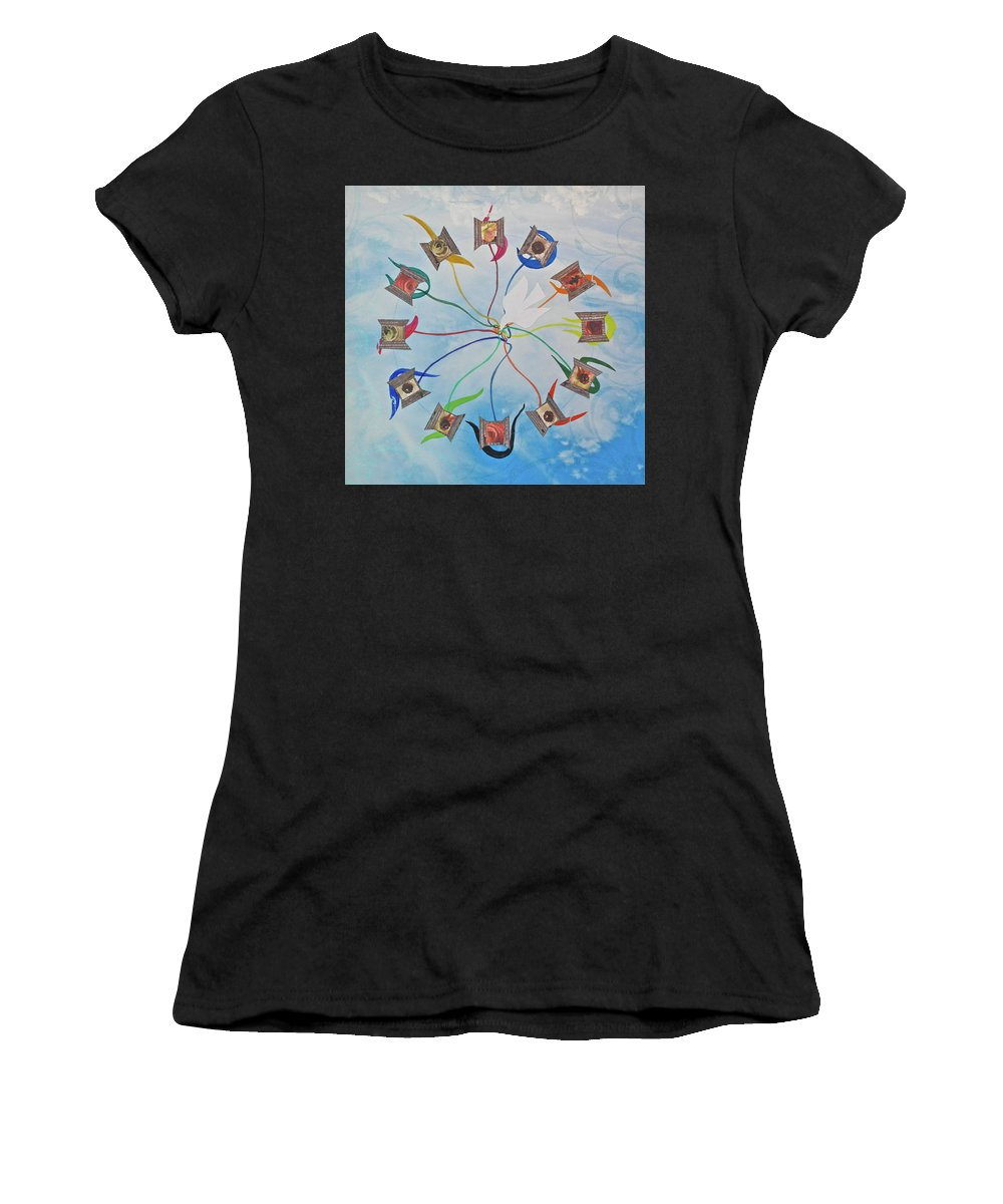 Circle Women's T-Shirt (Athletic Fit) featuring the mixed media Circle Of Hearts by Michele Myers