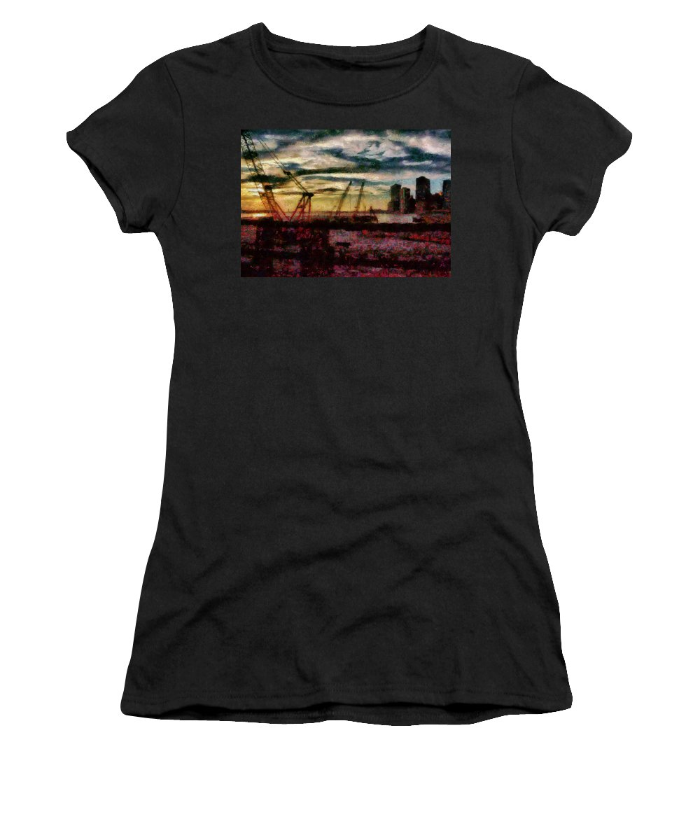 Savad Women's T-Shirt featuring the photograph City - Ny - Overlooking The Hudson by Mike Savad