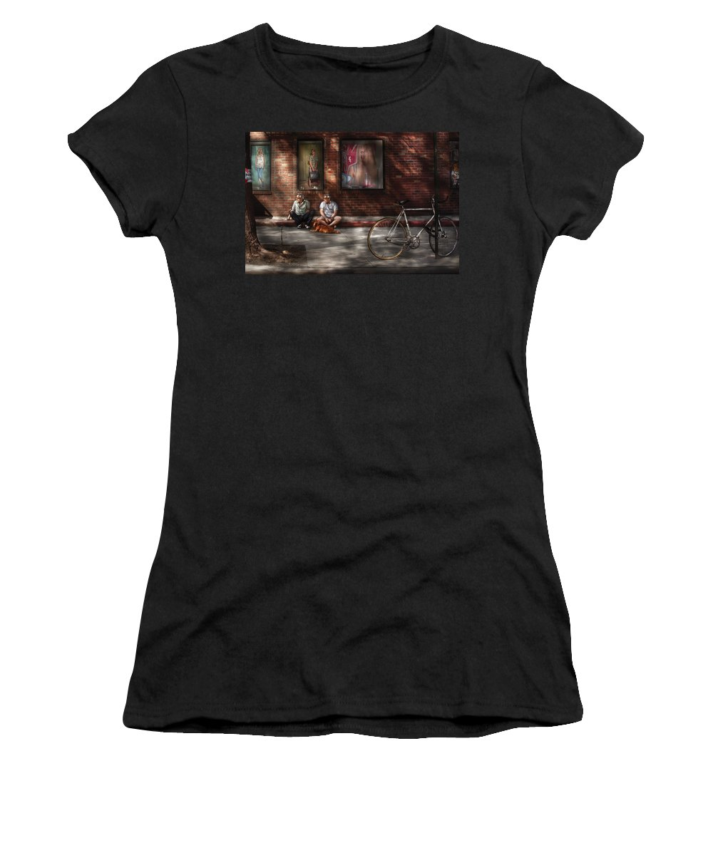 Savad Women's T-Shirt featuring the photograph City - Ny - Two Guys And A Dog by Mike Savad