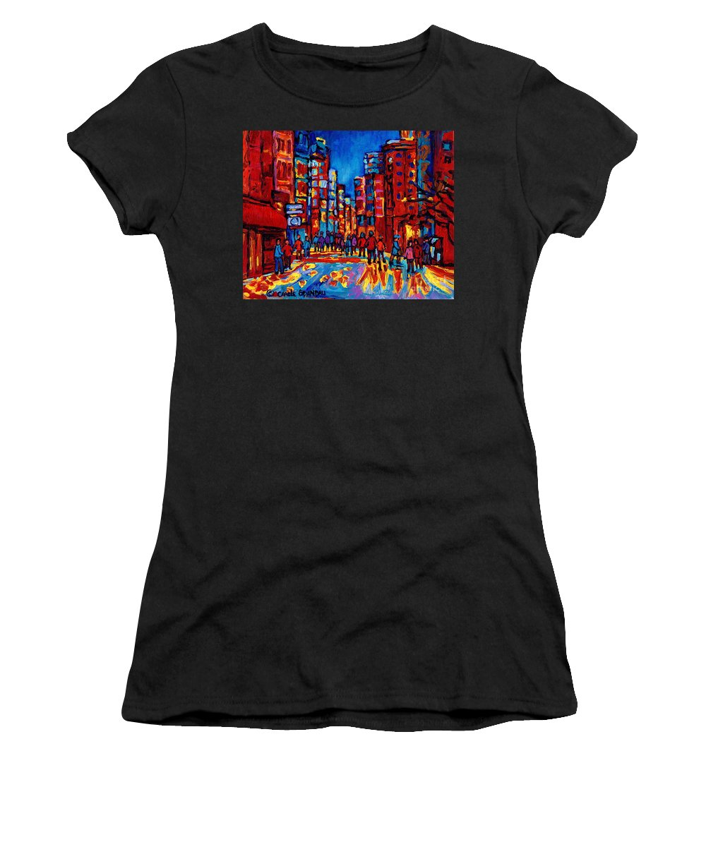 Montreal Women's T-Shirt featuring the painting City After The Rain by Carole Spandau