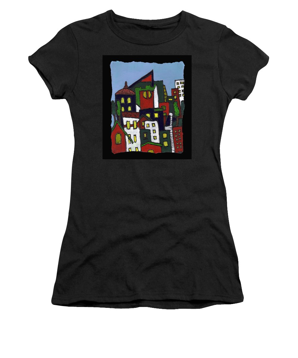 City Women's T-Shirt (Athletic Fit) featuring the painting City At Christmas by Wayne Potrafka