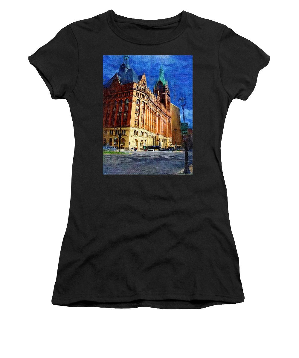 Architecture Women's T-Shirt (Athletic Fit) featuring the digital art City Hall And Lamp Post by Anita Burgermeister