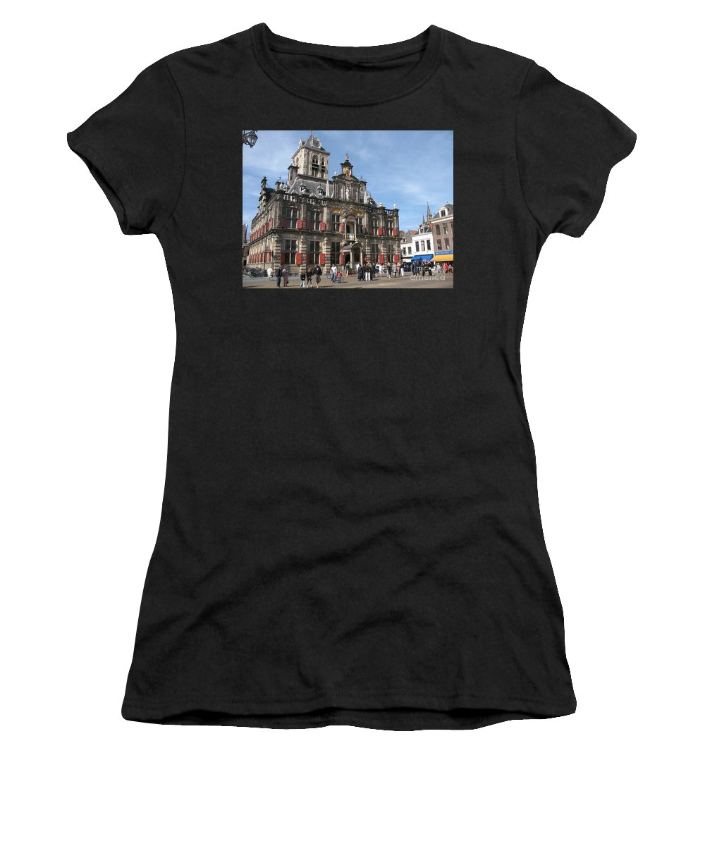 City Hall Women's T-Shirt (Athletic Fit) featuring the photograph City Hall - Delft - Netherlands by Christiane Schulze Art And Photography