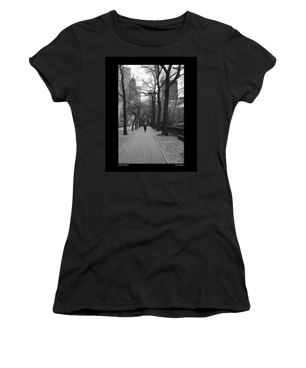Black Women's T-Shirt (Athletic Fit) featuring the photograph City Walk by J Todd