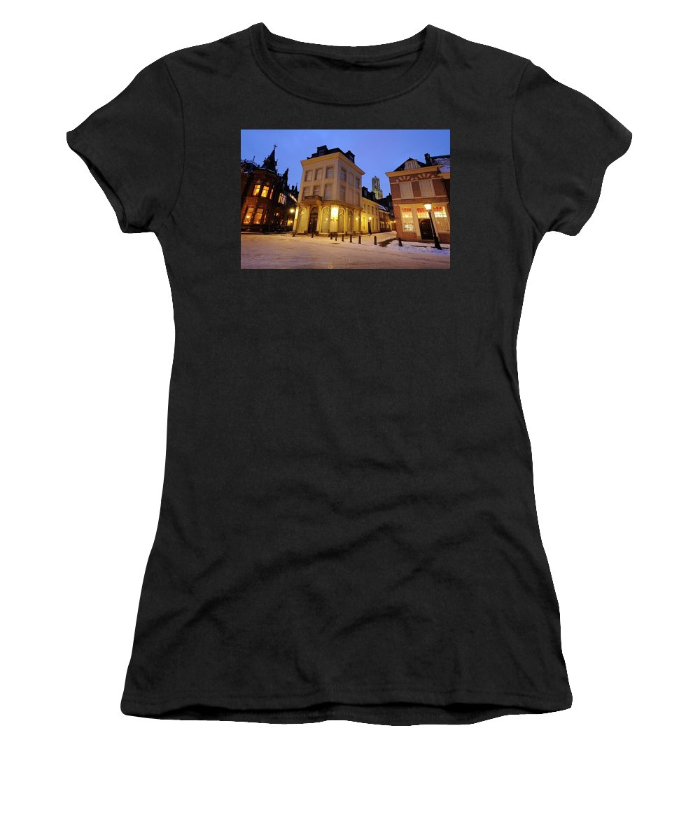 Donker Utrecht Women's T-Shirt featuring the photograph Cityscape Of Utrecht In The Evening At Pausdam 5 by Merijn Van der Vliet