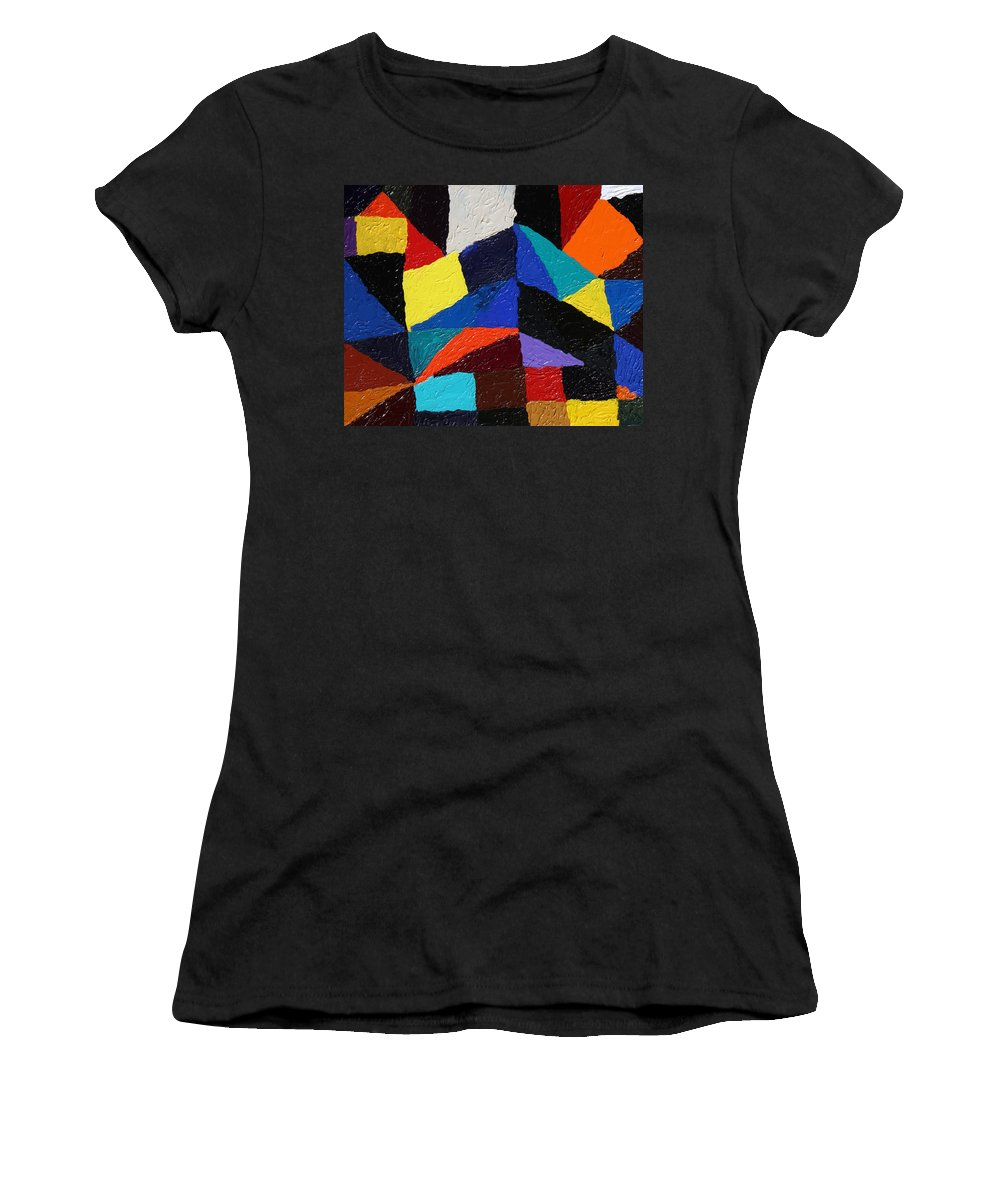 Fusionart Women's T-Shirt (Athletic Fit) featuring the painting Cityscape by Ralph White