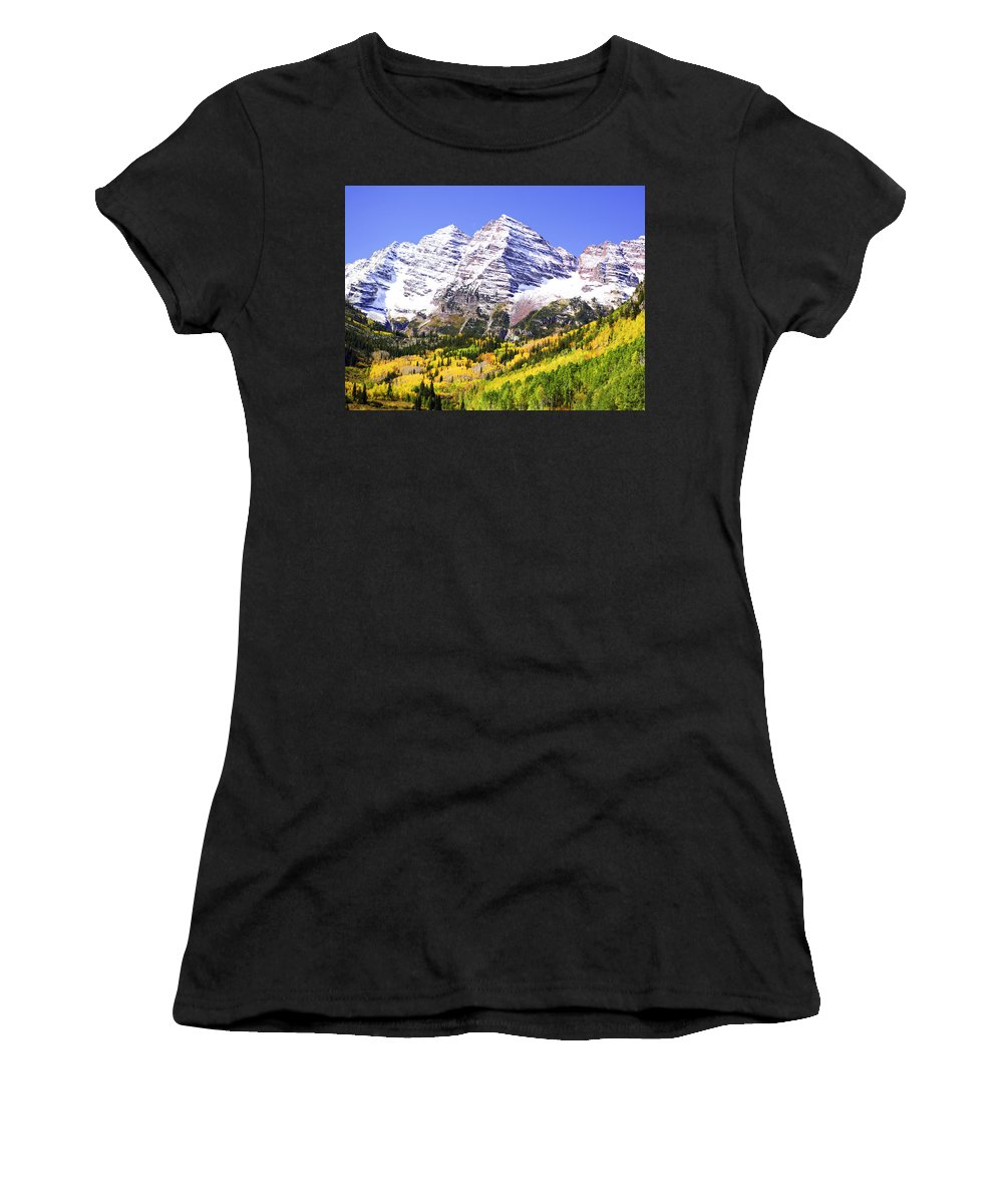 Americana Women's T-Shirt (Athletic Fit) featuring the photograph Classic Maroon Bells by Marilyn Hunt