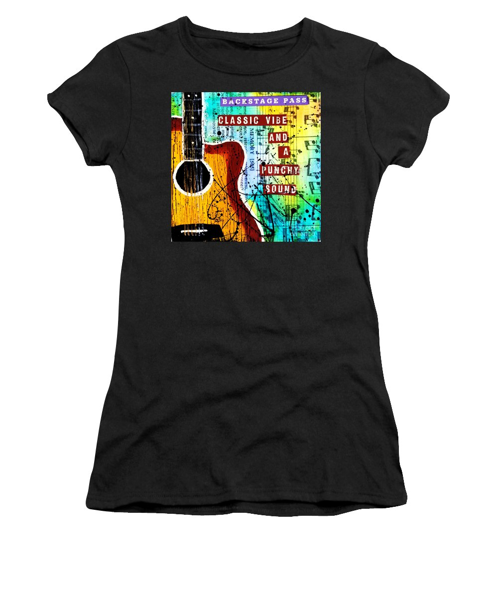 Classic Women's T-Shirt (Athletic Fit) featuring the mixed media Classic Vibe Grunge by Tami Dalton