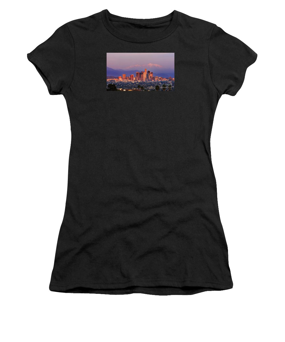 Kenneth State Park Women's T-Shirt (Athletic Fit) featuring the photograph Classical View Of Los Angeles Downtown by Chon Kit Leong