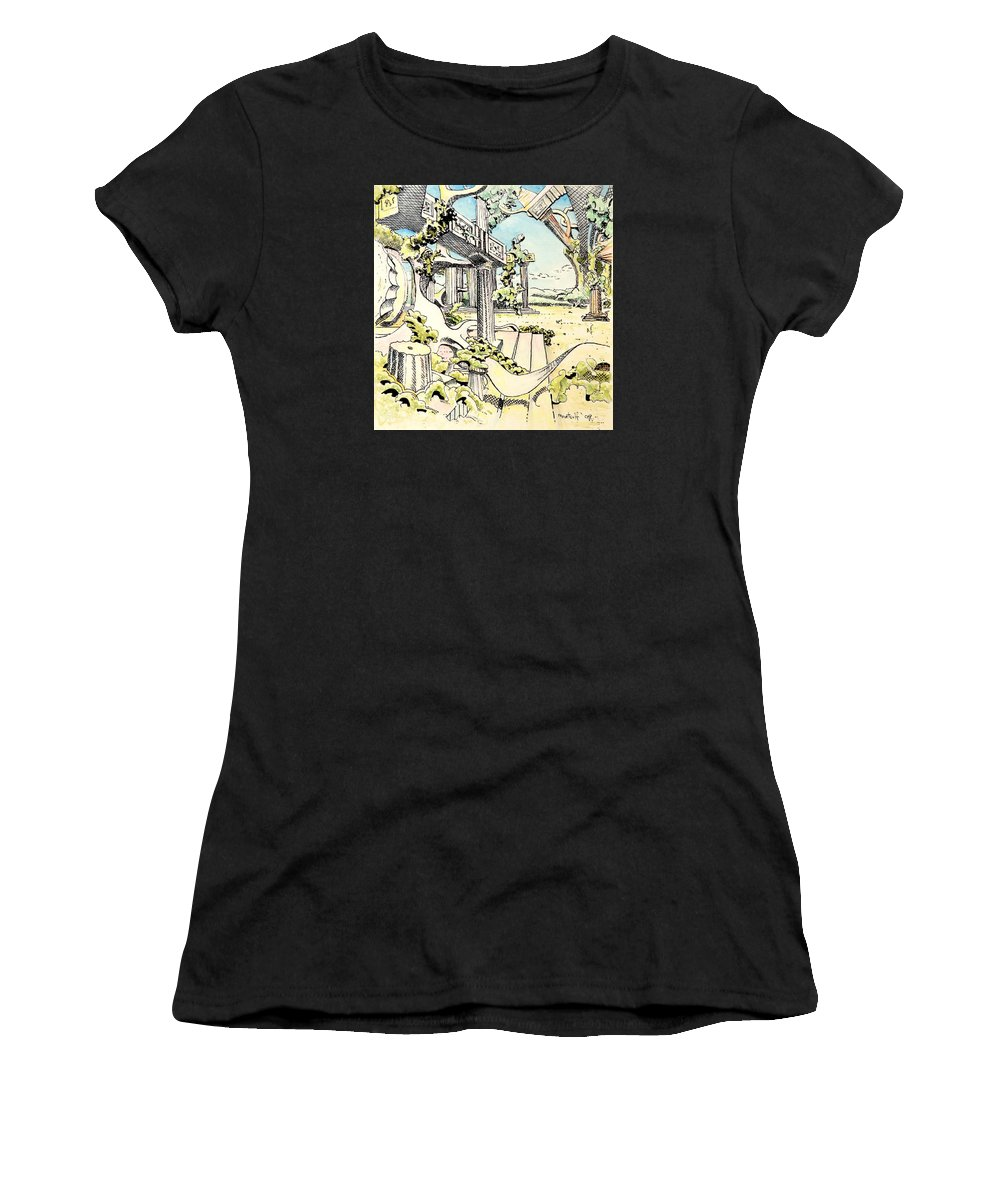 Greek Women's T-Shirt (Athletic Fit) featuring the painting Classical Visitation by Dave Martsolf